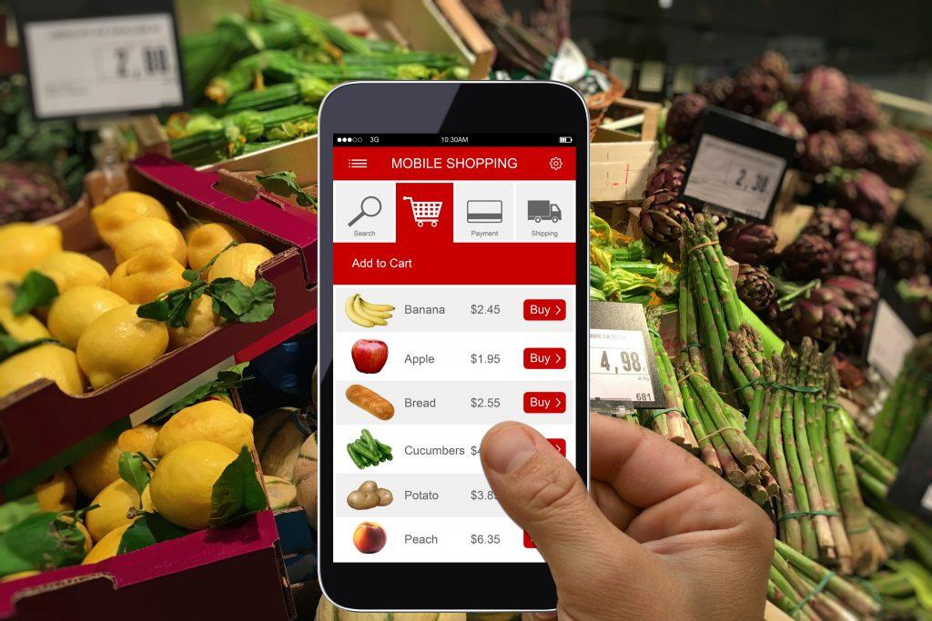 E-commerce internet shopping cart mobile phone app supermarket